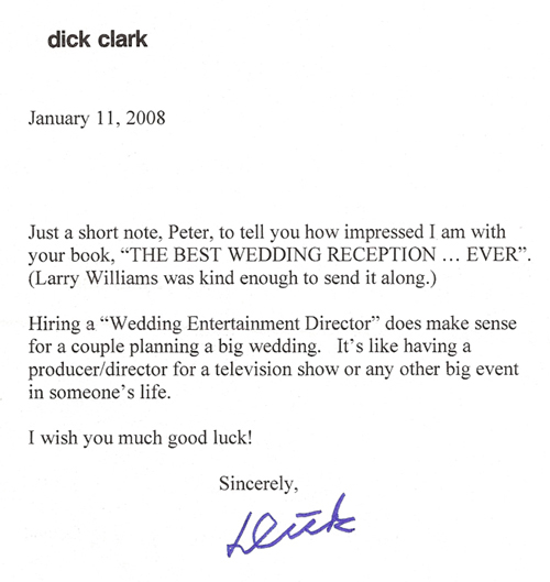 Dick Clark Letter Praising The Best Wedding Reception Ever!