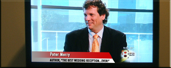 Media Coverage for The Best Wedding Reception Ever! Peter Merry being interviewed on Good Morning Texas.